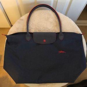 Longchamp le pliage club tote large navy blue